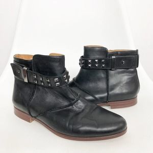 EARTHIES Black Leather Treano Studded Ankle Bootie